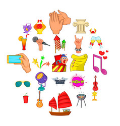 Ceremonial icons set cartoon style vector