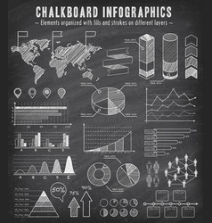 chalkboard sketch infographics set vector image