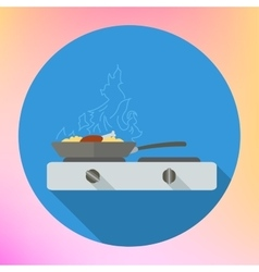 Chicken leg frying pan stove vector image