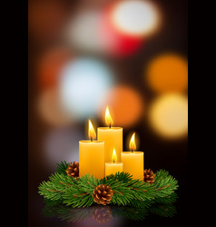 Christmas burning candles vector