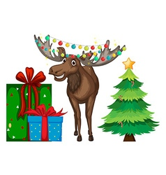 Christmas theme with reindeer and tree vector