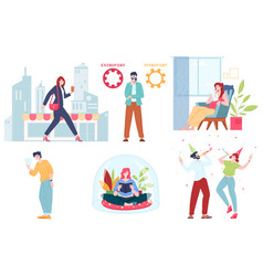 Collection cartoon extravert and introvert vector