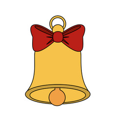 Color image bell with red bow ribbon vector