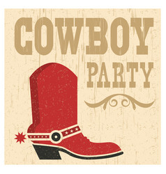 cowboy party card vector image