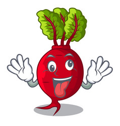 Crazy whole beetroots with green leaves cartoon vector