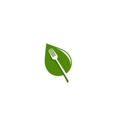 creative fork leaf logo design symbol vector image