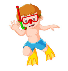 Cute boy with snorkel and diving vector