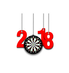 Darts board and 2018 hanging on strings vector
