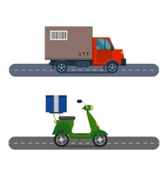 Delivery transport cargo truck and scooter vector image vector image