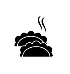 dumplings black icon sign on isolated vector image