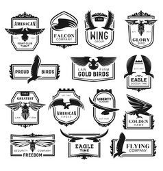 eagle falcon and hawk bird icons vector image