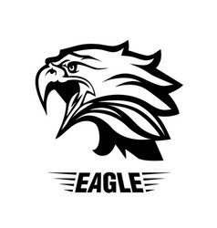 eagle head fly logo black icon tattoo vector image