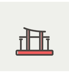 Famous gate thin line icon vector