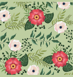 Flowers and roses plants with leaves background vector