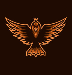 fly bird mascot e sports logo vector image