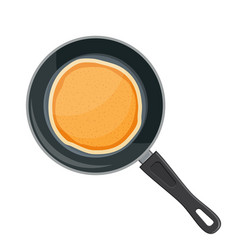 Flying pancakes and frying pan vector