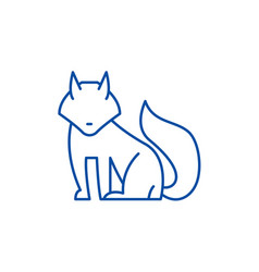 fox line icon concept fox flat symbol vector image