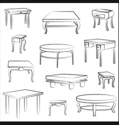 furniture set interior doodle furnishing tables vector image