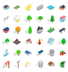 Game reserve icons set isometric style vector