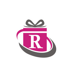 Gift box ribbon letter r vector