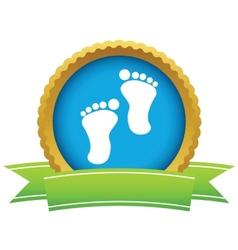 Gold foot steps logo vector image