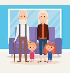 Grandparents with grandchildren in the livingroom vector