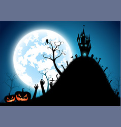 halloween backgroundfull moon on dark vector image