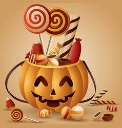 Halloween pumpkins basket and collected candy vector