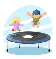 Happy cute boy girl children jump on trampoline vector
