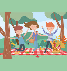 happy men and woman picnic food nature outdoors vector image