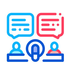 hosts talk in microphone icon outline vector image