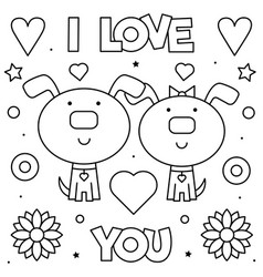 i love you coloring page black and white vector image