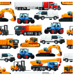 industrial machinery vehicles seamless pattern vector image