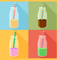 Juice in a bottle icon set flat icon with long vector