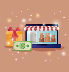 laptop with parasol and ecommerce icons vector image