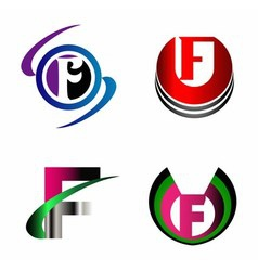 Letter F alphabet logo letter F icon set vector