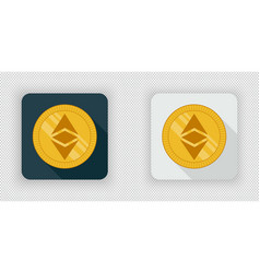 Light and dark crypto currency icon ethereum vector