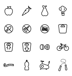 line diet icon set vector image