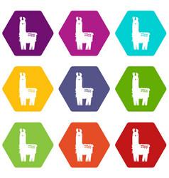 Llama icons set 9 vector