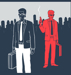 man in suits with suitcases and gun vector image