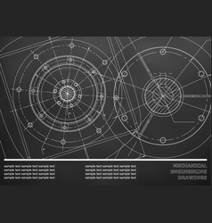 Mechanical engineering drawings on a black vector