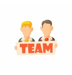 Men holding sign Team icon cartoon style vector image