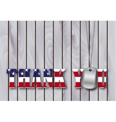 military dog tag thank you with flag vector image