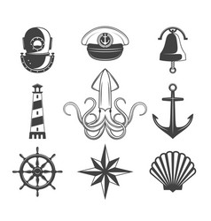 Naval icons set vector