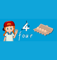 Number four writing tracing vector