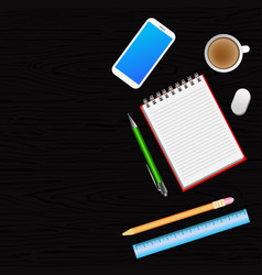 office desk with smartphone notebook pen pencil vector image