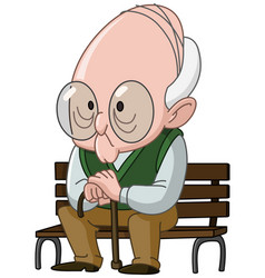 old man on bench vector image