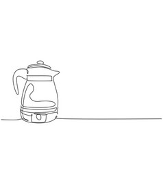 one single line drawing stainless steel kettle vector image