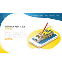 online roadside assistance landing page website vector image