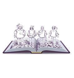 Open book historical novel about vector